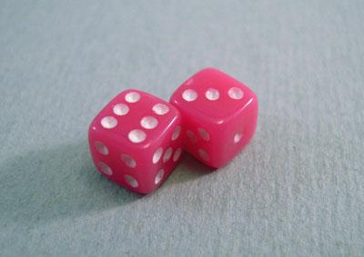 Miniature Pink Dice 1:12 scale