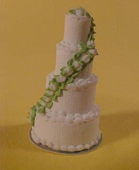 MCM Enterprises Miniature Four Tier Wedding Cake 1:24 scale