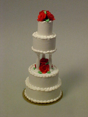 Four Tier Rose Wedding Cake 1:12 scale