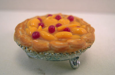 Handcrafted Peach Raspberry Pie 1:12 scale