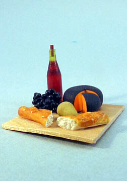 Party Cheese, Wine and Bread Board 1:12 scale