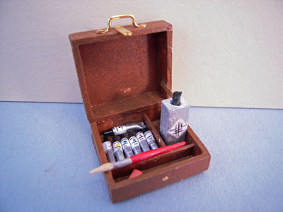 Handcrafted Small Filled Painter's Box 1:12 scale