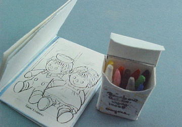 Miniature Displays Coloring Book & Crayons 1:12 scale
