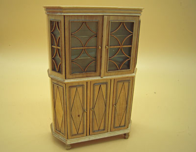 Bespaq Chere Gustavian Laquered Natural Display Cabinet 1:12 scale