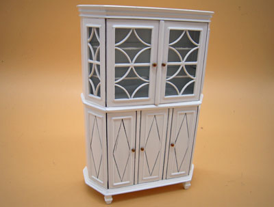 Bespaq Chere Gustavian White Display Cabinet 1:12 scale