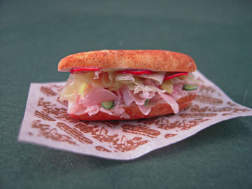 Handcrafted Ham and Cheese Submarine Sandwich 1:12 scale