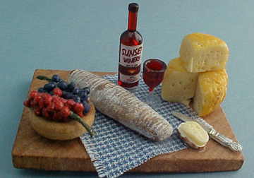 Large Board With Wine and Cheese 1:12 scale