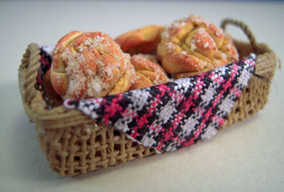 Handcrafted Basket Of Crullers 1:12 scale