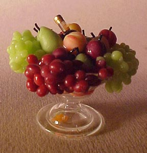 Glass Compote with Fruit and Wine 1:12 scale