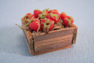 Fabulous Minis Filled Crate Of Fresh Strawberries 1:24 scale