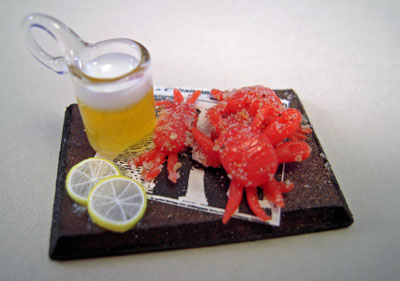 Handcrafted Tray Of Crabs With Beer 1:12 scale