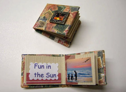 Handcrafted Vacation Album/Scrapbook 1:12 scale