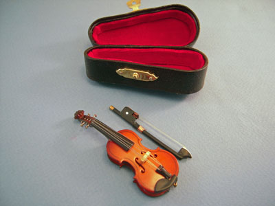 Violin and Bow with a Case 1:12 scale