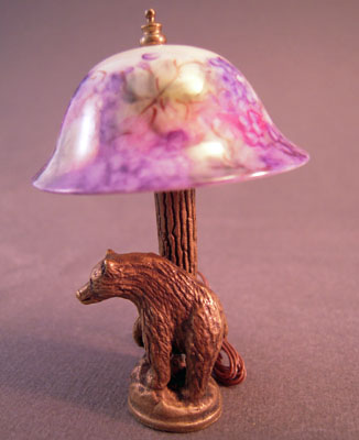Fabulous Ni Glo Bear Table Lamp With A Purple Grape Shade 1:12 scale