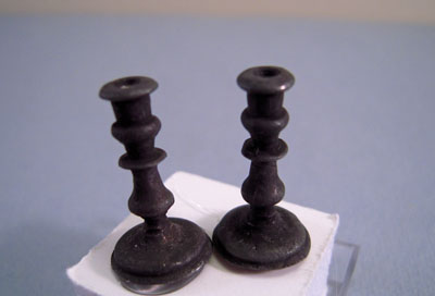 Olde Mountain Miniatures Pair Of Pewter Candlesticks 1:12 scale