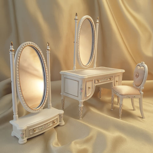 Majestic Mansions Three Piece Hand Painted Madeline Vanity Set 1:12
