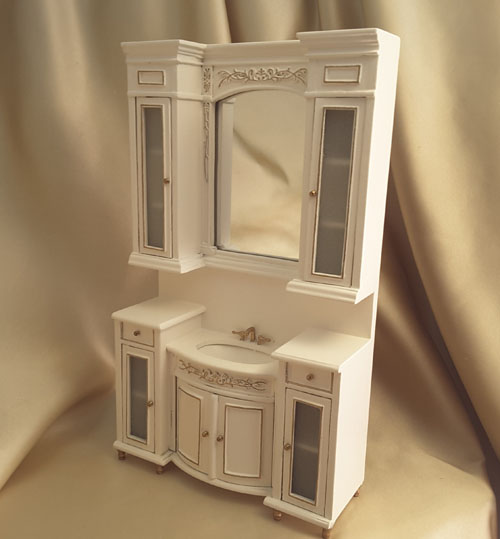 Majestic Mansions Italia White Bathroom Sink Vanity 1:12 scale