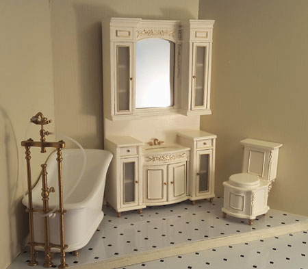 Majestic Mansions Three Piece White Italia Bathroom Set 1:12 scale