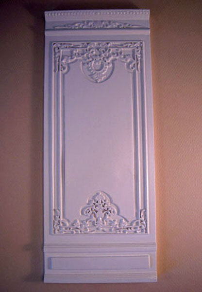 Miniature White French Boiserie Style Four Inch Decorative Wall Panel 1:12 scale