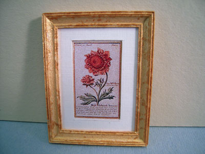 McBay Miniatures Red Flower Framed Print 1:12 scale