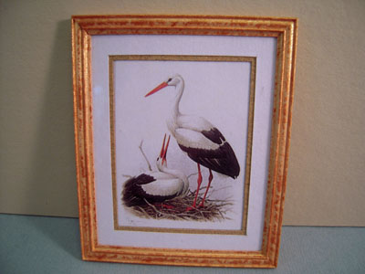 McBay Miniatures Beautiful Wood Stork Framed Print 1:12 scale