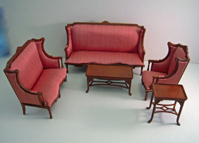 Platinum Collection Chester Elegant Walnut Five Piece Living Room Set 1:12 scale