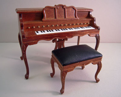 Platinum Collection Walnut Chopin Piano and Stool 1:12 scale