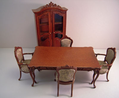 Platinum Collection Six Piece Walnut Garfield Dining Room Set 1:12 scale