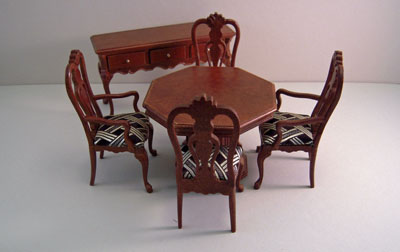 Platinum Collection Six Piece Walnut Hayes Dining Room Set 1:12 scale