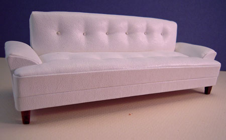 Miniature Platinum Collection Hoover Modern White Leather Sofa 1:12 scale