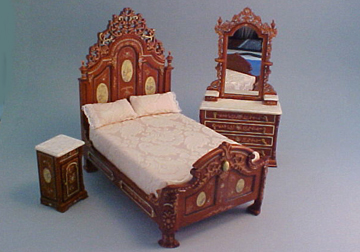 Platinum Collection Hand Painted RI Mauldie Victorian Bedroom Set 1:12 Scale