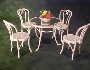 White Glass Top Patio Table Set 1 12 Scale