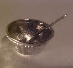 Pewter Mixing Bowl and Spoon 1:12 scale