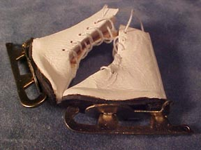 Handcrafted Leather Lady's Ice Skates 1:12 scale
