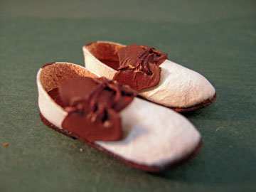Prestige Leather Handcrafted Brown and White Saddle Shoes 1:12 scale