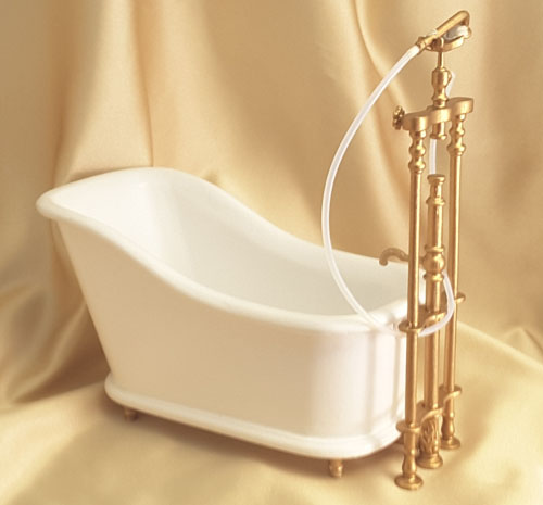 Majestic Mansions Italia White Bathroom Tub With Plumbing 1:12 scale