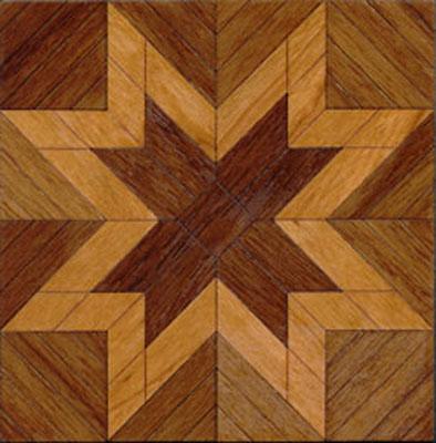 """Brodnax 1/2"""" Scale Etoile Walnut Parquet Center Medallion Flooring Kit"""