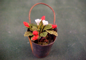 Twin Heart Strawberries In Aged Bucket 1:12 scale