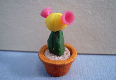 Twin Heart Handcrafted Potted Yellow and Pink Flowering Cactus 1:24 scale