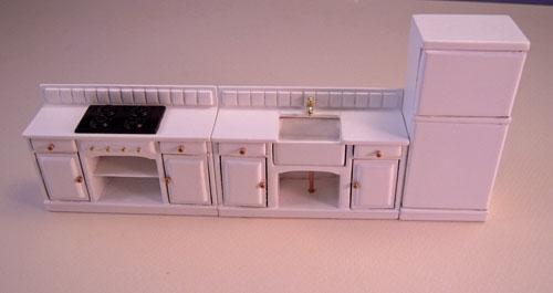 Mountain Miniatures White Three Piece Kitchen Set 1:24 scale