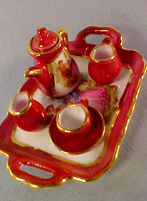 Red Lustre Limoges Style Tea for one 1:12 scale