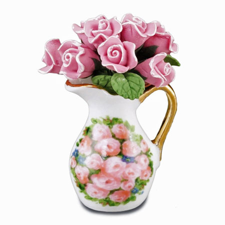 Reutter Porcelain Rose Arrangement in a Pitcher 1:12 scale