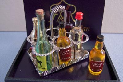 Reutter Porcelain Miniature Filled Antique Liquor Caddy 1:12 scale