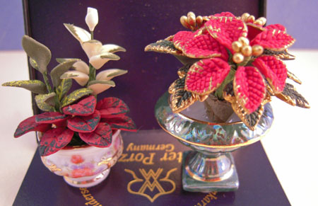 Reutter Poinsettia and Lilly Arrangements 1:12 scale
