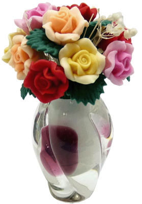 Bright deLights Roses In A Burgundy Art Deco Vase 1:12 scale