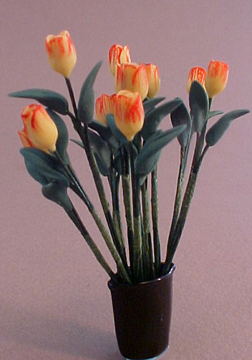 Bright deLights Yellow Tulips In A Blue Vase 1:12 scale