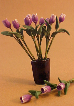 Bright deLights Purple Tulips In A Blue Vase 1:12 scale