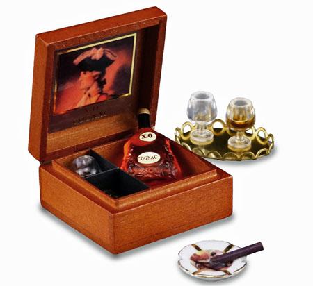 Reutter Porcelain Boxed XO Cognac Set With Glasses 1:12 scale