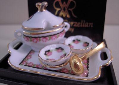 Reutter Porcelain Black Rose Soup Bowl Set 1:12 scale