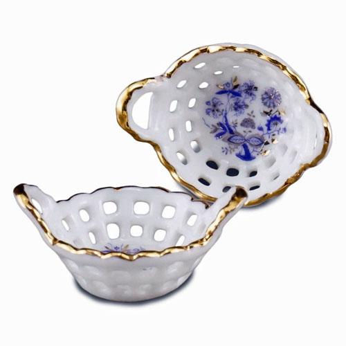Reutter Porcelain Blue Onion Food Baskets 1:12 scale